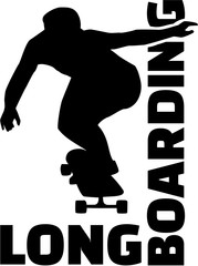 Longboard silhouette with word