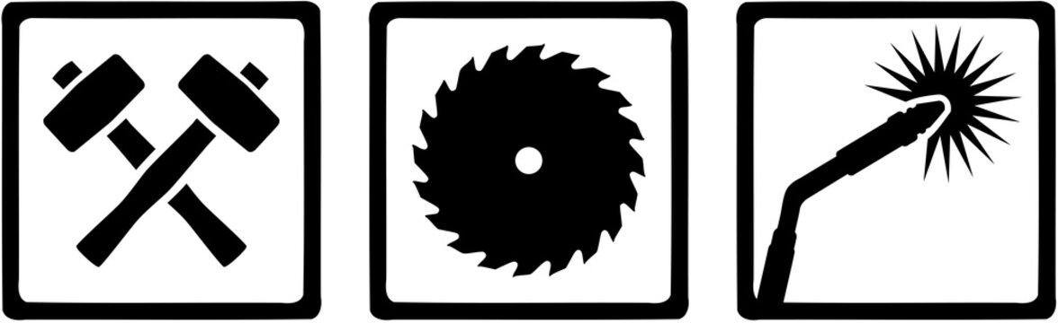 Metal worker welder icons