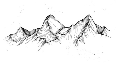 Hand drawn vector illustration - mountain peaks. Outdoor camping