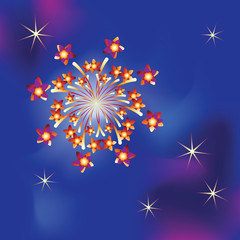 Firework with stars. Vector image. Design to design banner, poster, greeting cards.