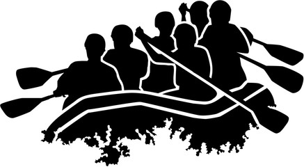 Rafting group silhouette