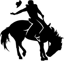 Rodeo riding silhouette