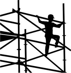 Scaffolder on the frame silhouette
