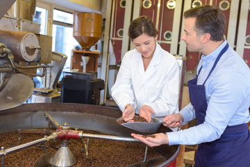 nutritionist checking the coffee beans
