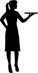 Waitress with plate silhouette