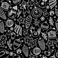 Seamless pattern of christmas on black background.