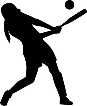 Softball batter woman silhouette