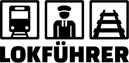 Train driver icons with german job title