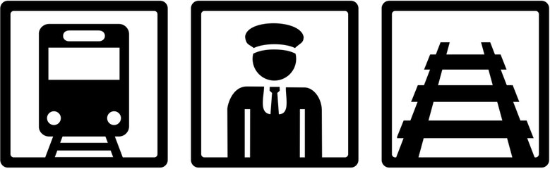 Wall Mural - Train driver icons - train, rail and conductor