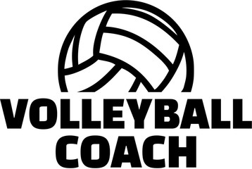 Volleyball coach with ball