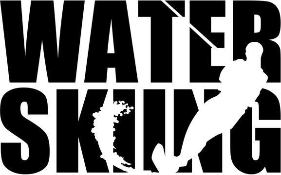 Water skiing word with silhouette cutout