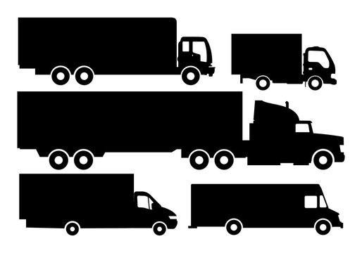 Vector set of trucks and trailers black and white isolated white background. Trucks and semi-trucks. Vector illustration. Flat illustration icons.