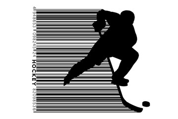 silhouette of a hockey player and barcode.