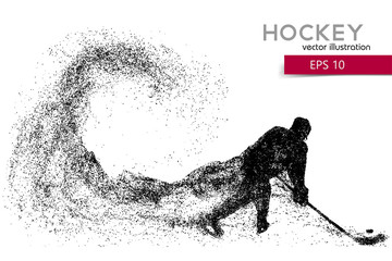 silhouette of a hockey player from particles.