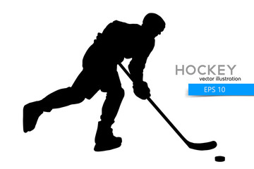 silhouette of a hockey player.