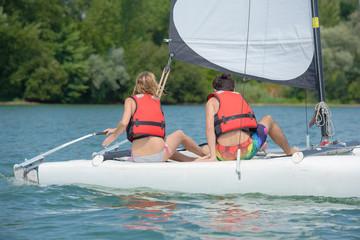 Couple on sailing vessel