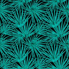 Fototapeta Palm Leaf Vector Seamless Pattern Background Illustration