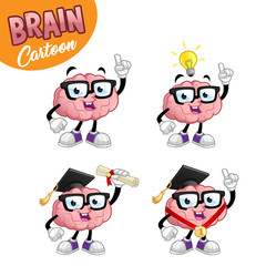 Brain cartoon character, set of four images