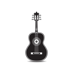 Vector illustration of black and white mexican guitar isolated on white background.