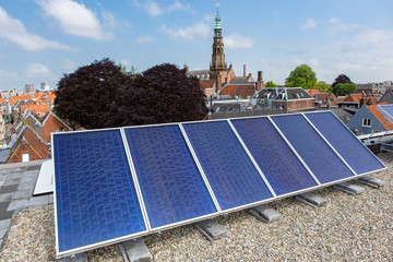 Energy with solar panels on the roof in Leiden.