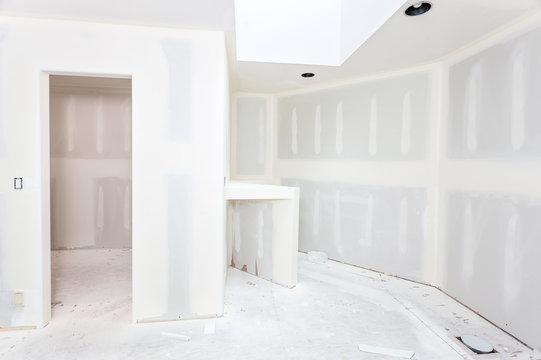 Drywall hung, taped and spackledBathroom remodel progresses as drywall is smoothed, covering seams and screws with tape and spackle (mud)