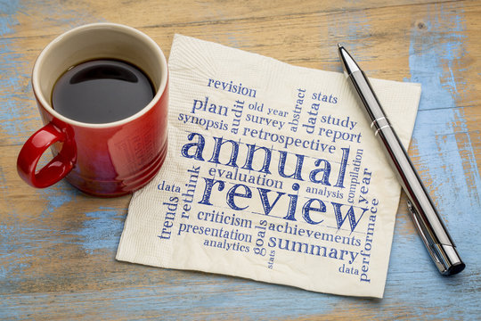 annual review word cloud on napkin