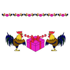 cock symbol with gift box, vector illustration in cartoon style