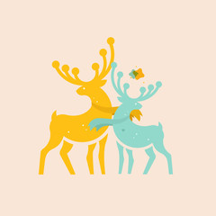 two colored deer with abstract shape vector illustration for print