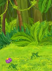 Cartoon nature scene in the jungle - illustration for children