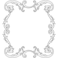 Vintage border frame engraving with retro ornament pattern in antique baroque style decorative design. Vector.