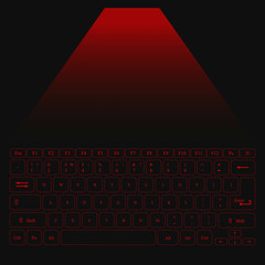 red laser keyboard. luminous buttons