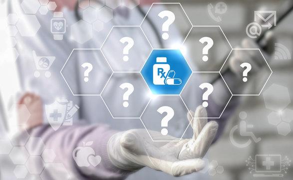 Pharmacy medicine health care RX faq question answer web support emr concept. Bottle drug pill capsule icon medical healthcare treatment medicament prescription insurance service help technology