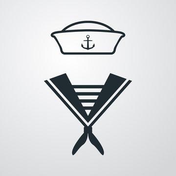 Icono plano uniforme marinero en fondo degradado