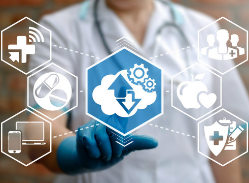 Health care integration medicine cloud web concept. Cloud storage gear arrow modernization automation cogwheel engineering technology