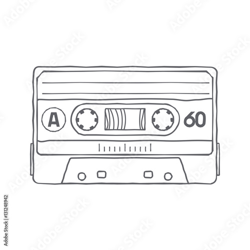 Vector illustration compact tape cassettes. Cartoon character. Pop ...