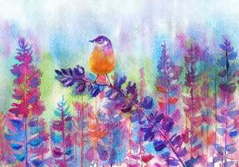 Orange bird standing on lupine. Floral summer image.Watercolor hand drawn illustration.