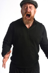 Man screaming with white background