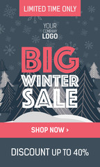 Gray and pink web banner big winter sale with trees, plate special offer and shop now