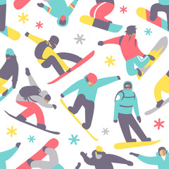 Snowboard seamless pattern vector.