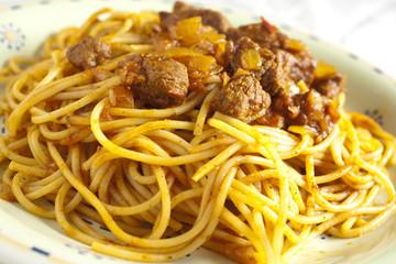 Tunisian style spaghetti with meat sauce