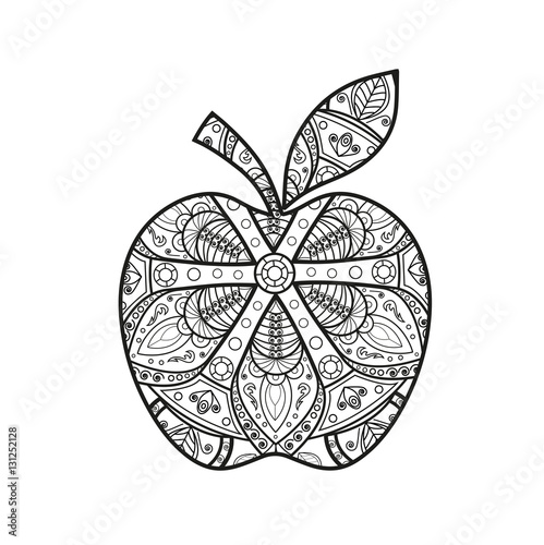 "طرح روی مس ""Vector illustration of a black and white mandala apple ..."