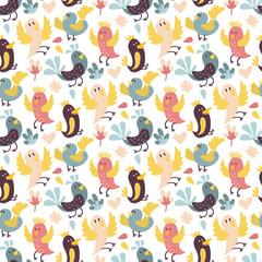 Cute birds vector seamless pattern
