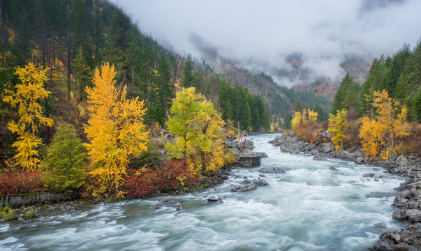 Autumn HDR with fog over mountain in Leavenworth
