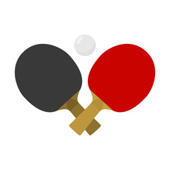 Crossed table tennis or ping pong paddles or rackets and ball. Vector illustration