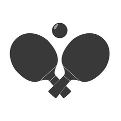 Crossed table tennis or ping pong paddles or rackets and ball. Black silhouette. Vector illustration
