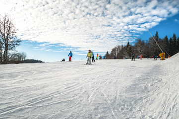 Ski piste in the resort of Bukovel in the Carpathians