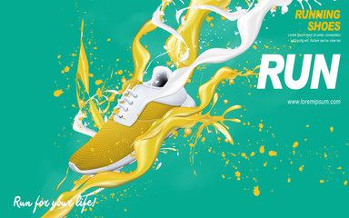 yellow running shoes ad