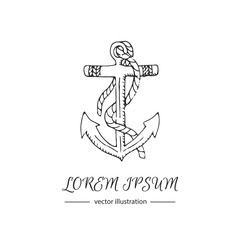 Hand drawn doodle Anchor icon Vector illustration sea icon Marine concept elements Ship symbols collection Marine life Nautical design Anchor vector isolated on white background Anchor illustration
