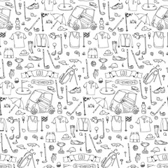 Seamless pattern Hand drawn doodle Golf icons set. Vector illustration collection. Cartoon golfing sketch elements: clubs, tee, bag, cart, sport cloth, shoes, polo shirt, umbrella, flag, hole, grass.