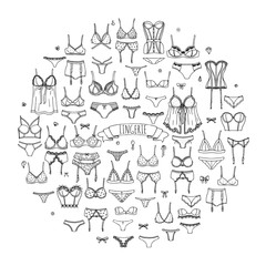 Hand drawn doodle Lingerie icon set. Fashion feminine vector illustration. Sexy lacy woman underwear symbol collection. Cartoon various sketch elements: bra, panties, corset, brassiere, string, bikini